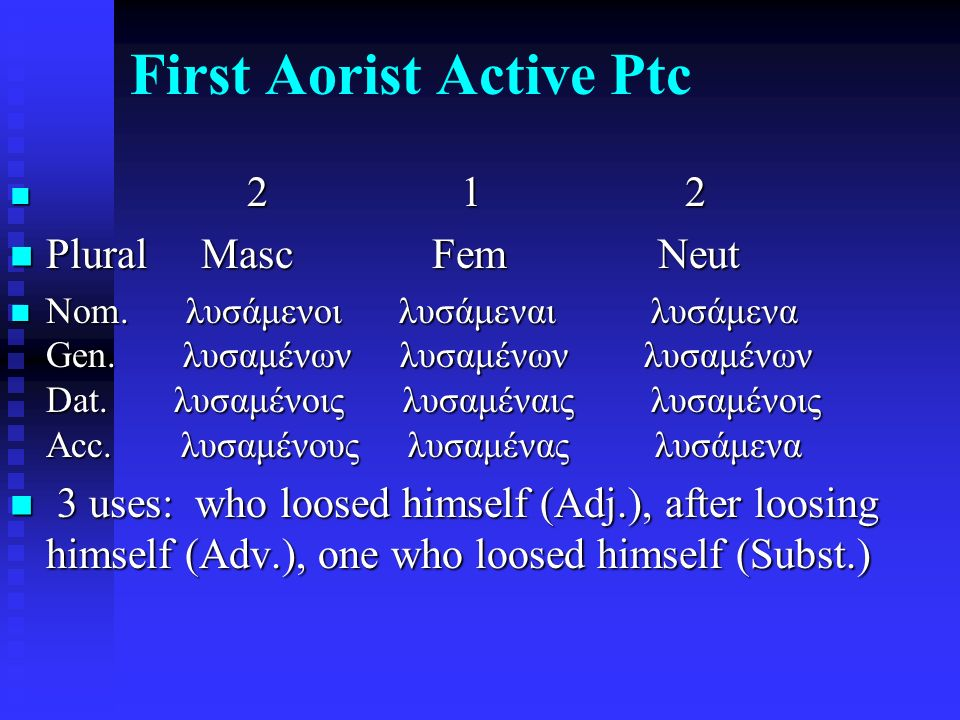 First Aorist Active Ptc 2 1 2 2 1 2 Plural Masc Fem Neut Plural Masc Fem Neut Nom.