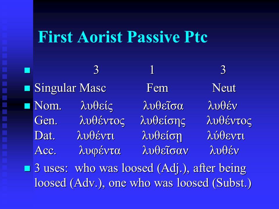 First Aorist Passive Ptc 3 1 3 3 1 3 Singular Masc Fem Neut Singular Masc Fem Neut Nom. λυθείς λυθε ῖ σα λυθέν Gen. λυθέντος λυθείσης λυθέντος Dat. λυ