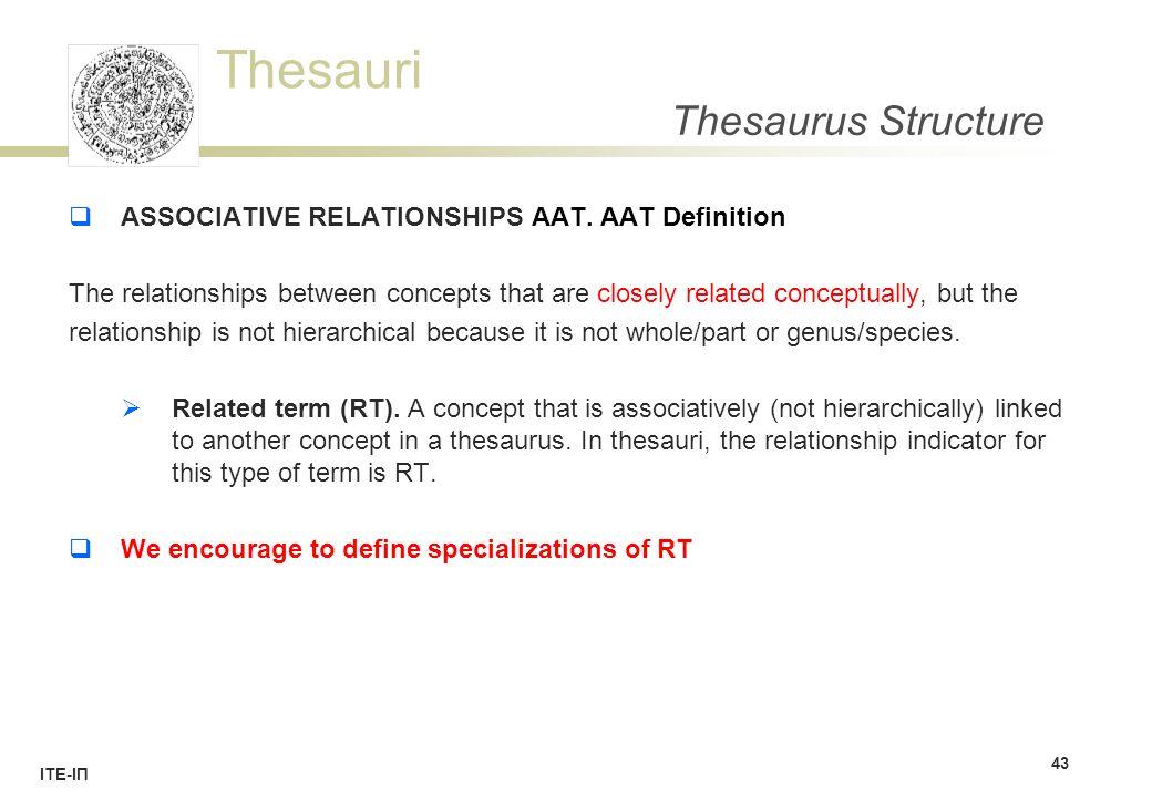 Thesauri ΙΤΕ-ΙΠ Thesaurus Structure  ASSOCIATIVE RELATIONSHIPS AAT.