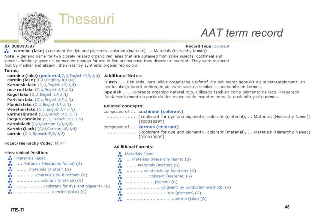 Thesauri ΙΤΕ-ΙΠ AAT term record 48