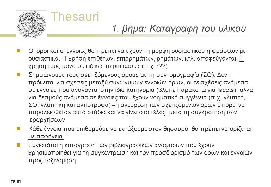 Thesauri ΙΤΕ-ΙΠ 38 Thesaurus Concepts (SIS-TMS) TermPreferred TermUsedForTermTopTerm (concept) ThesaurusExpression ThesaurusConcept ThesaurusNotion Non-Preferred TermAlternativeTerm NodeLabel DescriptorHierarchyTerm (concept) ObsoleteDescriptorObsoleteTerm : Generalisation (isA) 21/3/2014