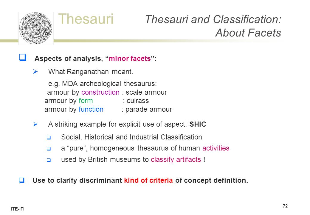 "Thesauri ΙΤΕ-ΙΠ Thesauri and Classification: About Facets  Aspects of analysis, ""minor facets"":  What Ranganathan meant. e.g. MDA archeological thes"