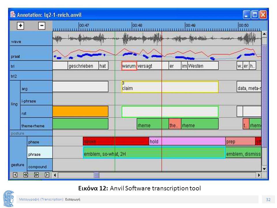 32 Μετεγγραφή (Τranscription): Εισαγωγή Εικόνα 12: Anvil Software transcription tool