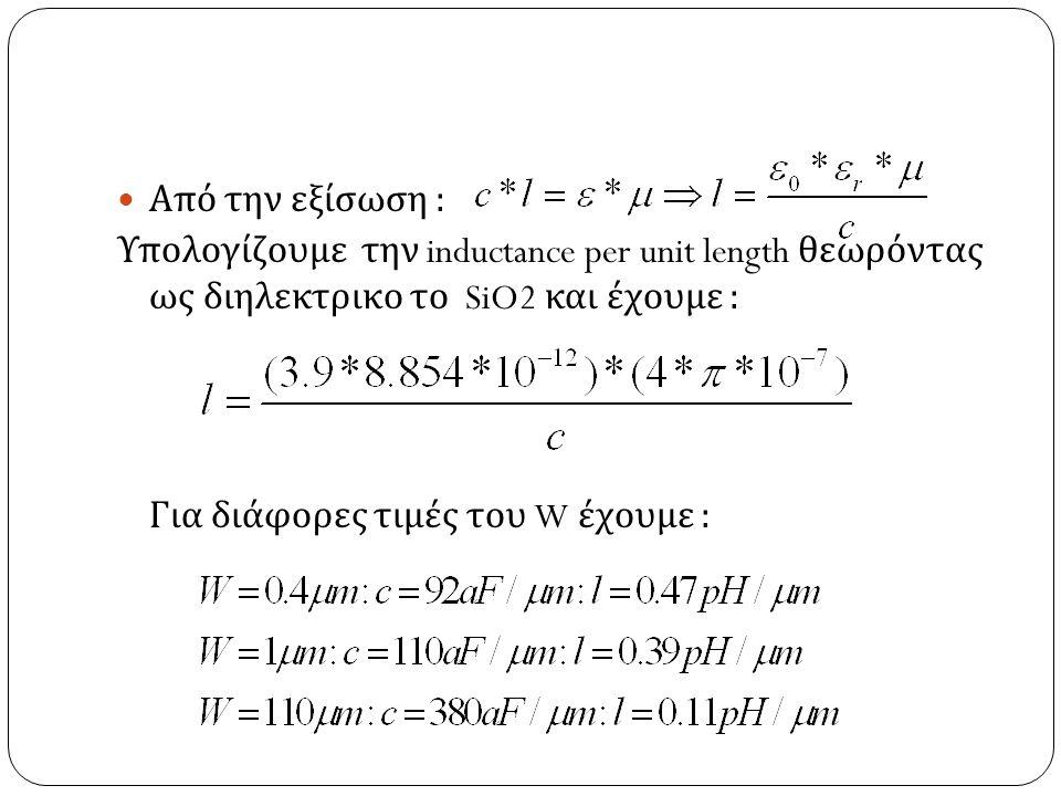 Από την εξίσωση : Υπολογίζουμε την inductance per unit length θεωρόντας ως διηλεκτρικο το SiO2 και έχουμε : Για διάφορες τιμές του W έχουμε :