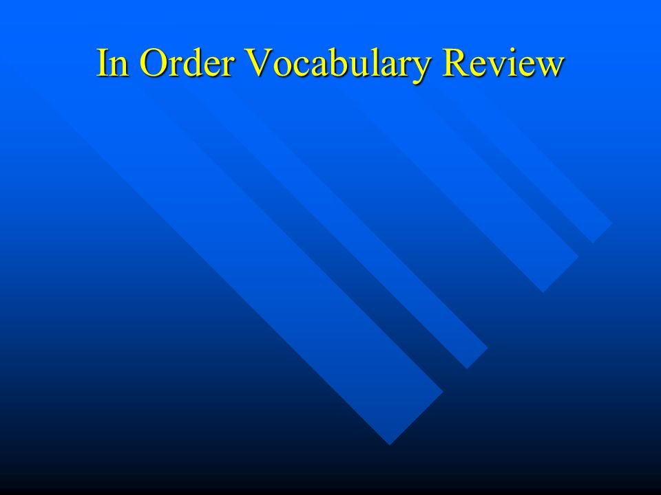 In Order Vocabulary Review