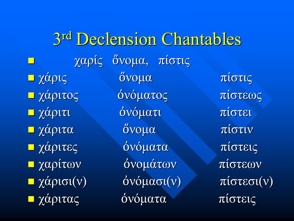 Chapter 14 Vocabulary μέλλω μέλλω –I am about to, intend ὁ δός, -ο ῦ, ἡ ὁ δός, -ο ῦ, ἡ –way πολύς, πολλή, πολύ πολύς, πολλή, πολύ –much, many σ ῶ μα, -ματος, τό σ ῶ μα, -ματος, τό –body ψυχή, - ῆ ς, ἡ ψυχή, - ῆ ς, ἡ –soul, life