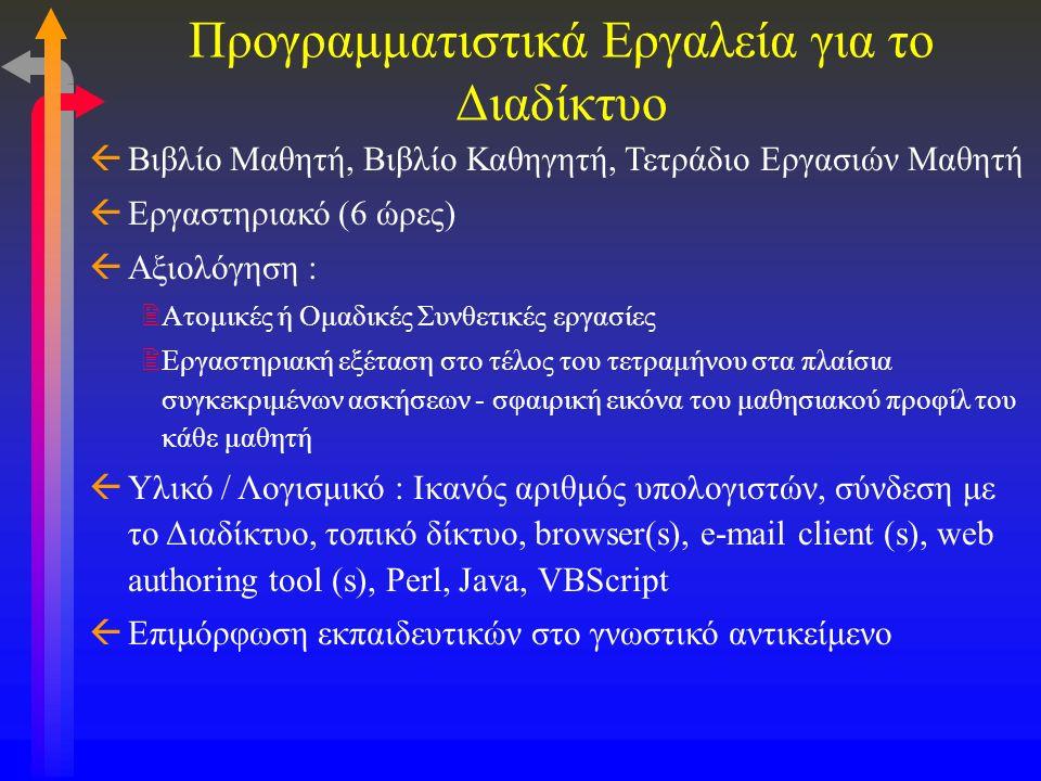 Προγραμματιστικά Εργαλεία για το Διαδίκτυο ßΒιβλίο Μαθητή, Βιβλίο Καθηγητή, Τετράδιο Εργασιών Μαθητή ßΕργαστηριακό (6 ώρες) ßΑξιολόγηση : 2Ατομικές ή Ομαδικές Συνθετικές εργασίες 2Εργαστηριακή εξέταση στο τέλος του τετραμήνου στα πλαίσια συγκεκριμένων ασκήσεων - σφαιρική εικόνα του μαθησιακού προφίλ του κάθε μαθητή ßΥλικό / Λογισμικό : Ικανός αριθμός υπολογιστών, σύνδεση με το Διαδίκτυο, τοπικό δίκτυο, browser(s), e-mail client (s), web authoring tool (s), Perl, Java, VBScript ßΕπιμόρφωση εκπαιδευτικών στο γνωστικό αντικείμενο