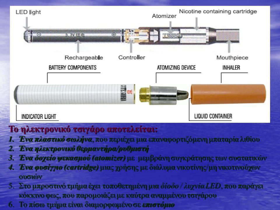 Το ηλεκτρονικό τσιγάρο αποτελείται: 1.Ένα πλαστικό σωλήνα, που περιέχει μια επαναφορτιζόμενη μπαταρία λιθίου 2.Ένα ηλεκτρονικό θερμαντήρα/ρυθμιστή 3.Ένα δοχείο ψεκασμού (atomizer) με μεμβράνη συγκράτησης των συστατικών 4.Ένα φυσίγγιο (cartridge) μιας χρήσης με διάλυμα νικοτίνης/μη νικοτινούχων ουσιών 5.Στο μπροστινό τμήμα έχει τοποθετημένη μια δίοδο / λυχνία LED, που παράγει κόκκινο φως, που παρομοιάζει με καύτρα αναμμένου τσιγάρου 6.Το πίσω τμήμα είναι διαμορφωμένο σε επιστόμιο