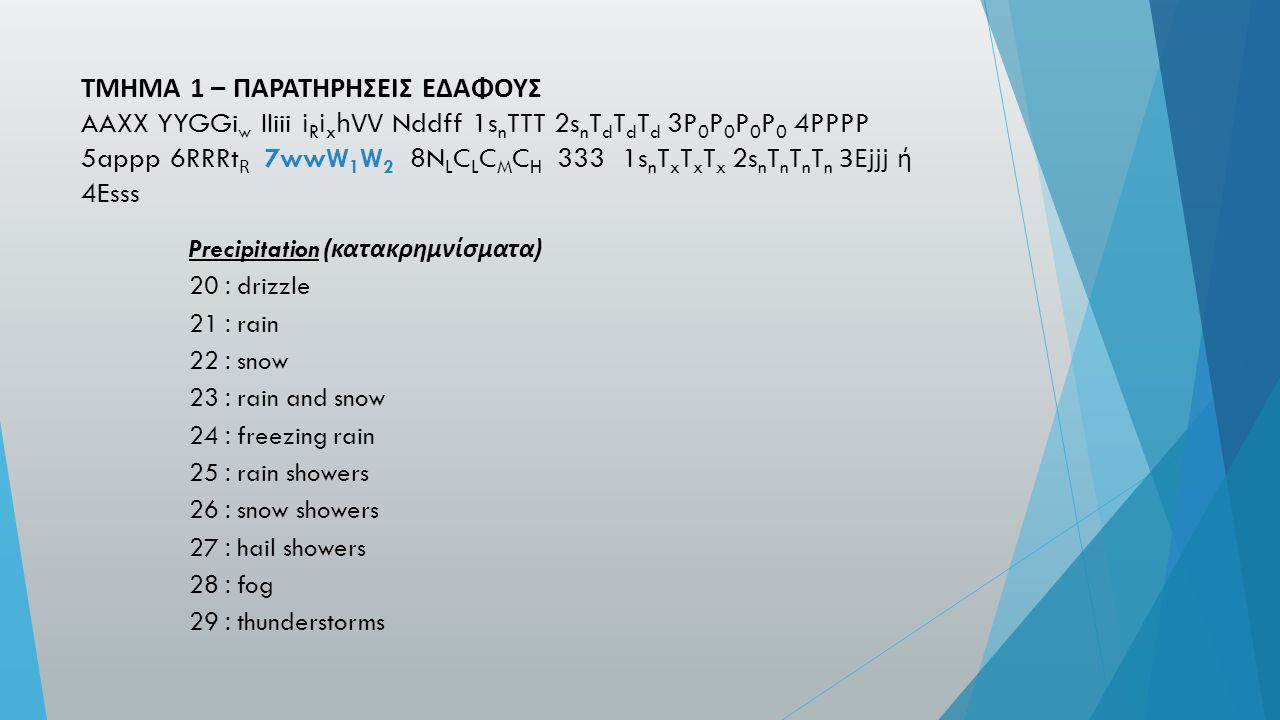 ΤΜΗΜΑ 1 – ΠΑΡΑΤΗΡΗΣΕΙΣ ΕΔΑΦΟΥΣ AAXX YYGGi w IIiii i R i x hVV Nddff 1s n TTT 2s n T d T d T d 3P 0 P 0 P 0 P 0 4PPPP 5appp 6RRRt R 7wwW 1 W 2 8N L C L C M C H 333 1s n T x T x T x 2s n T n T n T n 3Ejjj ή 4Esss Precipitation ( κατακρημνίσματα ) 20 : drizzle 21 : rain 22 : snow 23 : rain and snow 24 : freezing rain 25 : rain showers 26 : snow showers 27 : hail showers 28 : fog 29 : thunderstorms