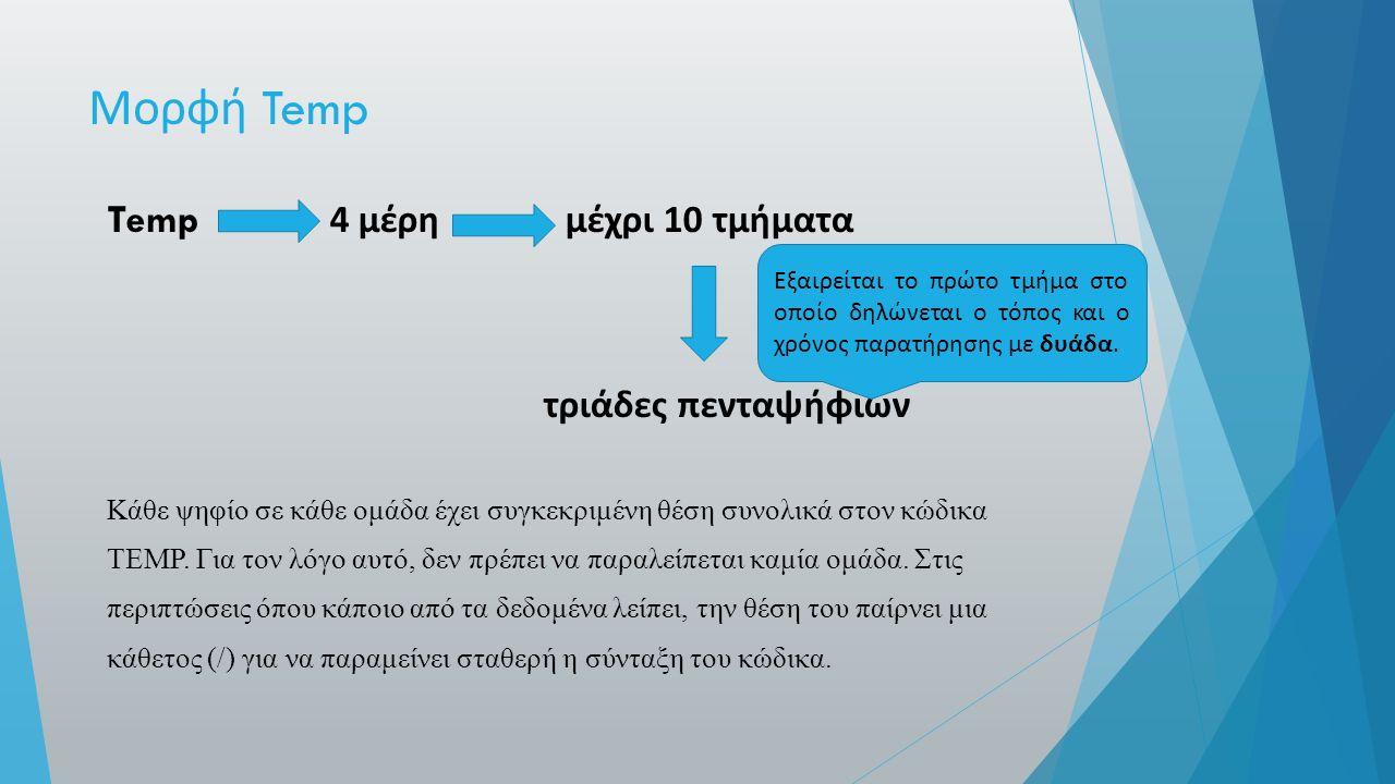 Μορφή Temp Temp 4 μέρη μέχρι 10 τμήματα τριάδες πενταψήφιων Κάθε ψηφίο σε κάθε ομάδα έχει συγκεκριμένη θέση συνολικά στον κώδικα TEMP.