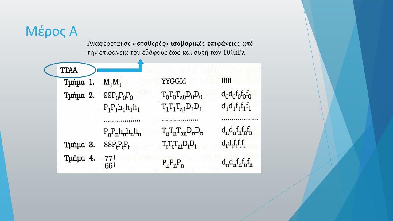 Μέρος Α Αναφέρεται σε «σταθερές» ισοβαρικές επιφάνειες από την επιφάνεια του εδάφους έως και αυτή των 100hPa