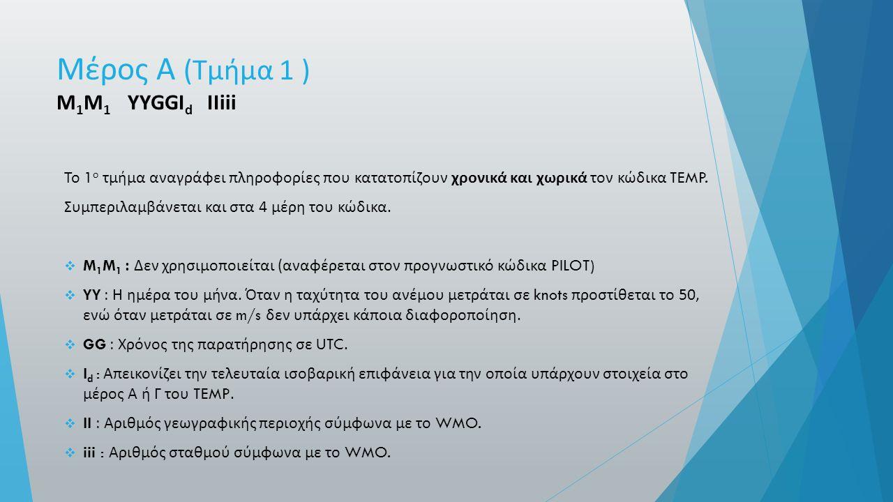 Μέρος Α ( Τμήμα 1 ) M 1 M 1 YYGGI d ΙΙ iii Το 1 ο τμήμα αναγράφει πληροφορίες που κατατοπίζουν χρονικά και χωρικά τον κώδικα TEMP.