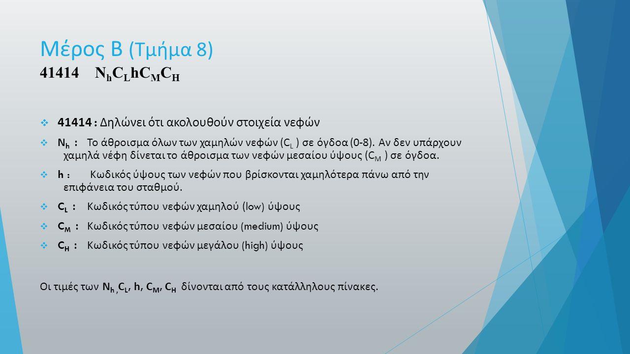 Μέρος Β ( Τμήμα 8) 41414 N h C L hC M C H  41414 : Δηλώνει ότι ακολουθούν στοιχεία νεφών  N h : Το άθροισμα όλων των χαμηλών νεφών (C L ) σε όγδοα (0-8).