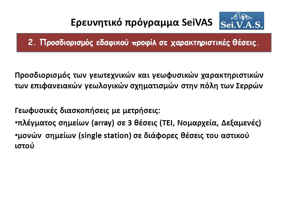 Ερευνητικό πρόγραμμα SeiVAS Προσδιορισμός των γεωτεχνικών και γεωφυσικών χαρακτηριστικών των επιφανειακών γεωλογικών σχηματισμών στην πόλη των Σερρών Γεωφυσικές διασκοπήσεις με μετρήσεις: πλέγματος σημείων (array) σε 3 θέσεις (ΤΕΙ, Νομαρχεία, Δεξαμενές) μονών σημείων (single station) σε διάφορες θέσεις του αστικού ιστού 2.