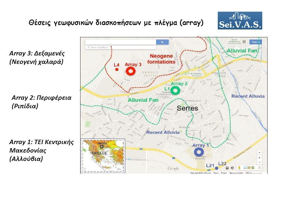 Θέσεις γεωφυσικών διασκοπήσεων με πλέγμα (array) Array 1: ΤΕΙ Κεντρικής Μακεδονίας (Αλλούβια) Array 2: Περιφέρεια (Ριπίδια) Array 3: Δεξαμενές (Νεογενή χαλαρά)
