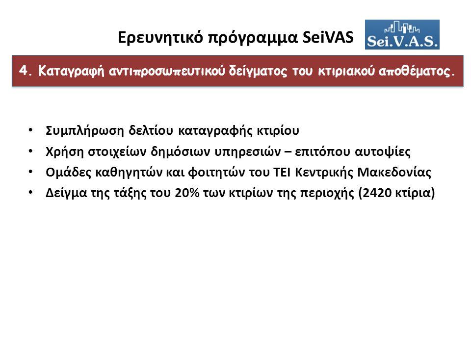 Ερευνητικό πρόγραμμα SeiVAS 4. Καταγραφή αντιπροσωπευτικού δείγματος του κτιριακού αποθέματος.