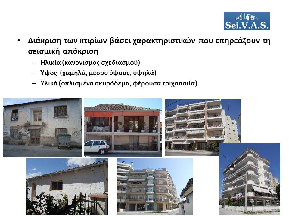 Διάκριση των κτιρίων βάσει χαρακτηριστικών που επηρεάζουν τη σεισμική απόκριση – Ηλικία (κανονισμός σχεδιασμού) – Ύψος (χαμηλά, μέσου ύψους, υψηλά) – Υλικό (οπλισμένο σκυρόδεμα, φέρουσα τοιχοποιία)