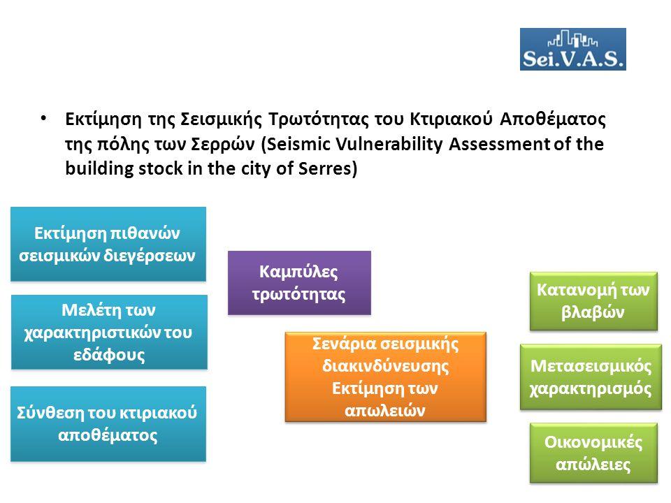 Εκτίμηση της Σεισμικής Τρωτότητας του Κτιριακού Αποθέματος της πόλης των Σερρών (Seismic Vulnerability Assessment of the building stock in the city of Serres) Εκτίμηση πιθανών σεισμικών διεγέρσεων Σύνθεση του κτιριακού αποθέματος Καμπύλες τρωτότητας Σενάρια σεισμικής διακινδύνευσης Εκτίμηση των απωλειών Σενάρια σεισμικής διακινδύνευσης Εκτίμηση των απωλειών Μετασεισμικός χαρακτηρισμός Οικονομικές απώλειες Κατανομή των βλαβών Μελέτη των χαρακτηριστικών του εδάφους