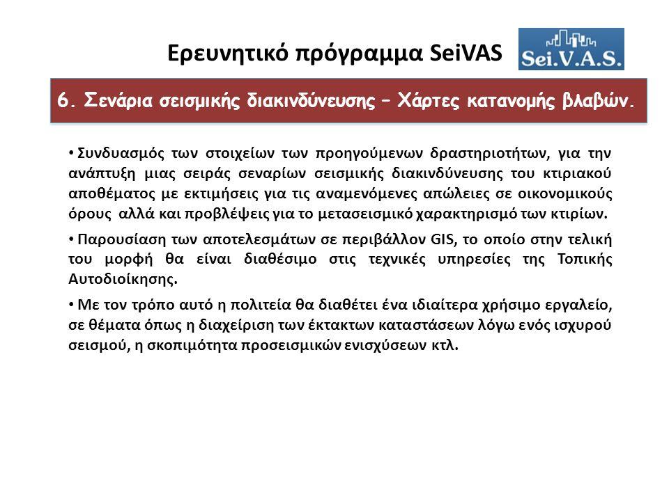 Ερευνητικό πρόγραμμα SeiVAS 6. Σενάρια σεισμικής διακινδύνευσης – Χάρτες κατανομής βλαβών.