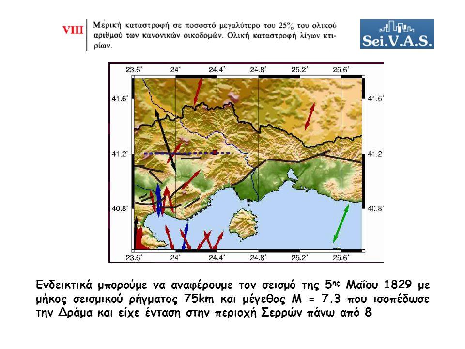 Ενδεικτικά μπορούμε να αναφέρουμε τον σεισμό της 5 ης Μαΐου 1829 με μήκος σεισμικού ρήγματος 75km και μέγεθος Μ = 7.3 που ισοπέδωσε την Δράμα και είχε ένταση στην περιοχή Σερρών πάνω από 8