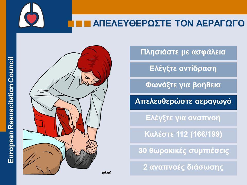 European Resuscitation Council ΑΠΕΛΕΥΘΕΡΩΣΤΕ TON ΑΕΡΑΓΩΓΟ Πλησιάστε με ασφάλεια Ελέγξτε αντίδραση Φωνάξτε για βοήθεια Απελευθερώστε αεραγωγό Ελέγξτε για αναπνοή Καλέστε 112 (166/199) 30 θωρακικές συμπιέσεις 2 αναπνοές διάσωσης