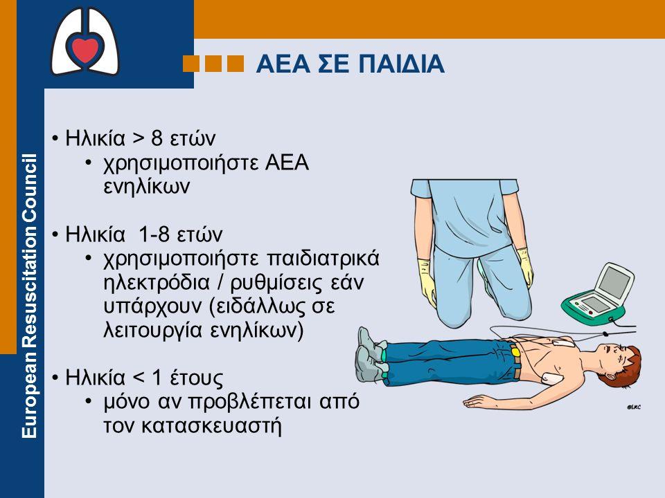 European Resuscitation Council ΑΕΑ ΣΕ ΠΑΙΔΙΑ Ηλικία > 8 ετών χρησιμοποιήστε ΑΕΑ ενηλίκων Ηλικία 1-8 ετών χρησιμοποιήστε παιδιατρικά ηλεκτρόδια / ρυθμί