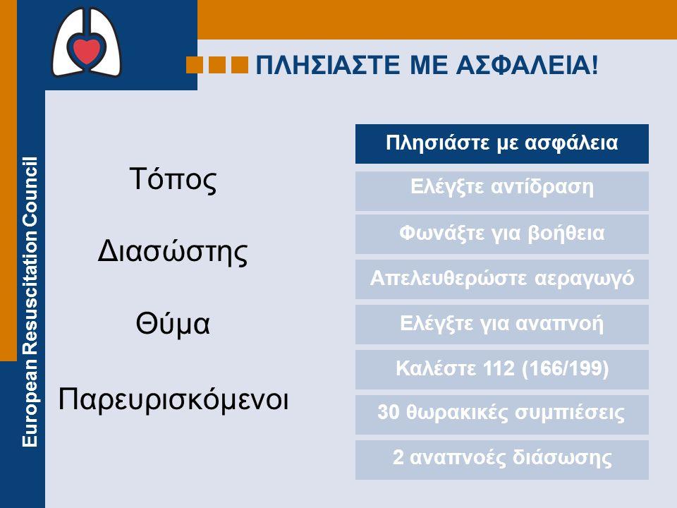 European Resuscitation Council ΠΛΗΣΙΑΣΤΕ ΜΕ ΑΣΦΑΛΕΙΑ! Τόπος Διασώστης Θύμα Παρευρισκόμενοι Πλησιάστε με ασφάλεια Ελέγξτε αντίδραση Φωνάξτε για βοήθεια