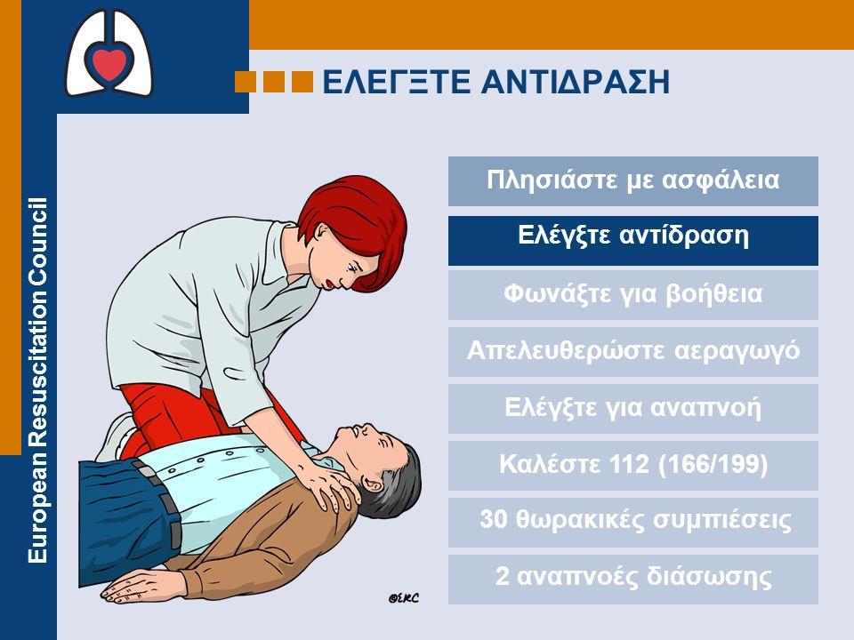 European Resuscitation Council ΕΛΕΓΞΤΕ ΑΝΤΙΔΡΑΣΗ Πλησιάστε με ασφάλεια Ελέγξτε αντίδραση Φωνάξτε για βοήθεια Απελευθερώστε αεραγωγό Ελέγξτε για αναπνοή Καλέστε 112 (166/199) 30 θωρακικές συμπιέσεις 2 αναπνοές διάσωσης