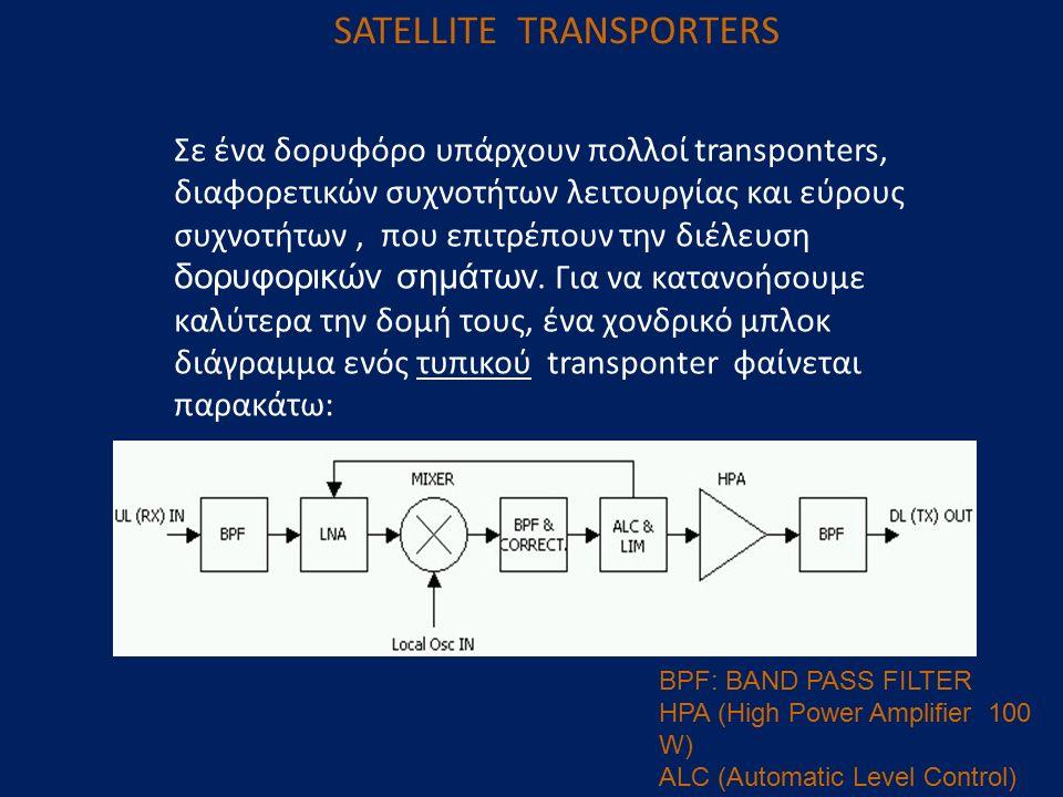 SATELLITE TRANSPORTERS Σε ένα δορυφόρο υπάρχουν πολλοί transponters, διαφορετικών συχνοτήτων λειτουργίας και εύρους συχνοτήτων, που επιτρέπουν την διέ