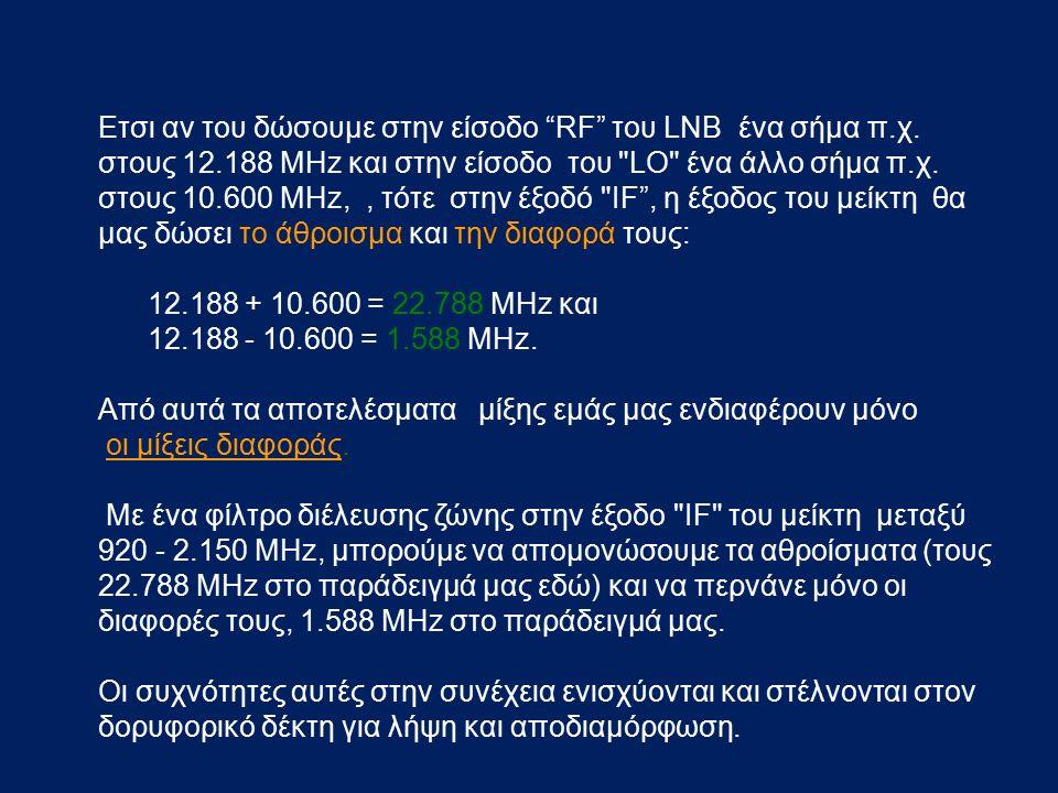 """Ετσι αν του δώσουμε στην είσοδο """"RF"""" του LNB ένα σήμα π.χ. στους 12.188 MHz και στην είσοδο του"""