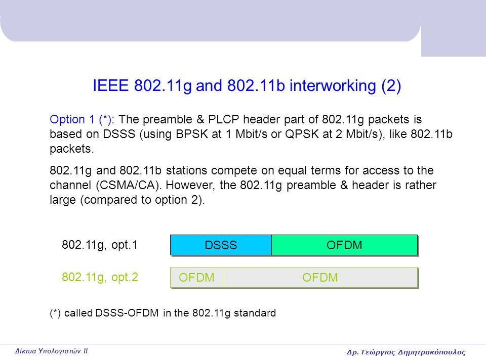 Δίκτυα Υπολογιστών II IEEE 802.11g and 802.11b interworking (2) Option 1 (*): The preamble & PLCP header part of 802.11g packets is based on DSSS (using BPSK at 1 Mbit/s or QPSK at 2 Mbit/s), like 802.11b packets.