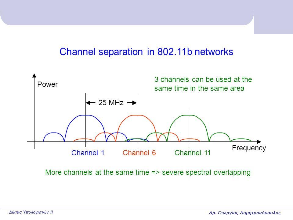 Δίκτυα Υπολογιστών II Channel separation in 802.11b networks Power Frequency Channel 1Channel 6Channel 11 25 MHz More channels at the same time => severe spectral overlapping 3 channels can be used at the same time in the same area Δρ.