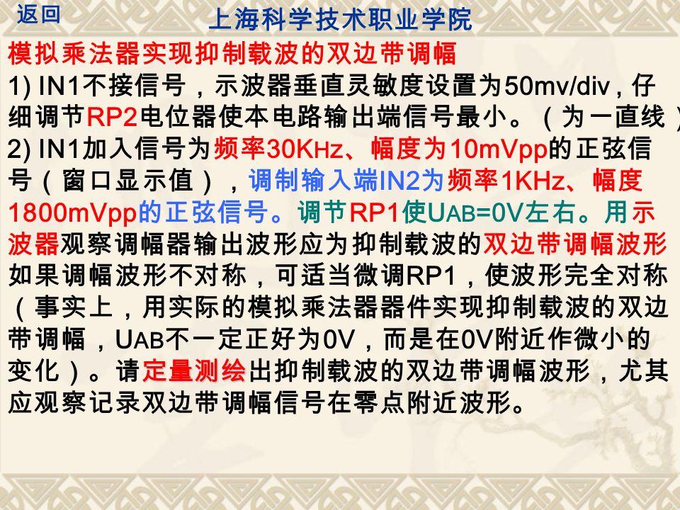 模拟乘法器实现抑制载波的双边带调幅 1) IN1 不接信号,示波器垂直灵敏度设置为 50mv/div, 仔 细调节 RP2 电位器使本电路输出端信号最小。(为一直线) 定量测绘 2) IN1 加入信号为频率 30K H z 、幅度为 10mVpp 的正弦信 号(窗口显示值),调制输入端 IN2 为频率 1KHz 、幅度 1800mVpp 的正弦信号。调节 RP1 使 U AB =0V 左右。用示 波器观察调幅器输出波形应为抑制载波的双边带调幅波形, 如果调幅波形不对称,可适当微调 RP1 ,使波形完全对称 (事实上,用实际的模拟乘法器器件实现抑制载波的双边 带调幅, U AB 不一定正好为 0V ,而是在 0V 附近作微小的 变化)。请定量测绘出抑制载波的双边带调幅波形,尤其 应观察记录双边带调幅信号在零点附近波形。 上海科学技术职业学院 返回