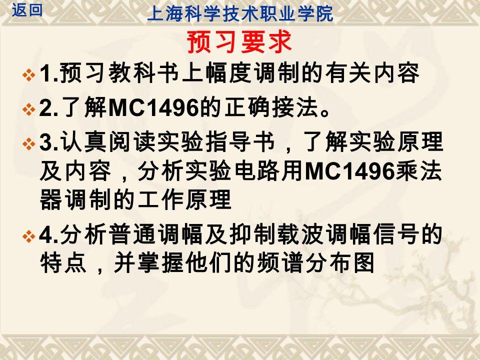 实验仪器 1. 双踪示波器( YB4325 ) 2. 信号发生器( EE1643 ) 3. 实验板 G3 ( AM 调幅器单元) 4. 万用电表(自制) 上海科学技术职业学院 返回