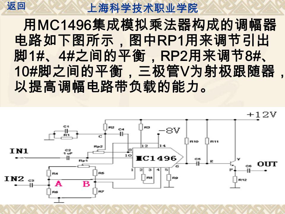 实验内容 模拟乘法器实现普通调幅 ( 1 )接好实验板需用到的直流 +12V 和 -8V 。注意电源的极性不能 接错,检查无误后开启电源,实验板上指示灯亮表示该电路已接 通。 ( 2 )载波输入端平衡调节:在调制信号输入端 IN2 加入 UΩ=800mVpp 、 F=1KHz 的调制信号(此信号由 EE1643 信号源 调 制信号中的 600Ω 输出端 输出,具体方法如下 ,频率与幅度大小用 示波器测读)。然后示波器接在调幅器输出端,垂直灵敏度设置为 50mv/div 。仔细调节 RP2 电位器使本电路输出端信号最小。(为一 直线) ( 3 ) 在载波信号输入端 IN1 加入频率为 30KHz 、幅值为 10mVpp 的 载波信号(此信号由 EE1643 型函数发生器 50Ω 输出端 输出,频率 参数由频率显示窗口读出,幅值由幅度显示窗口读出)。波形稳定 后 ,用示波器观察调幅器输出端的输出波形.