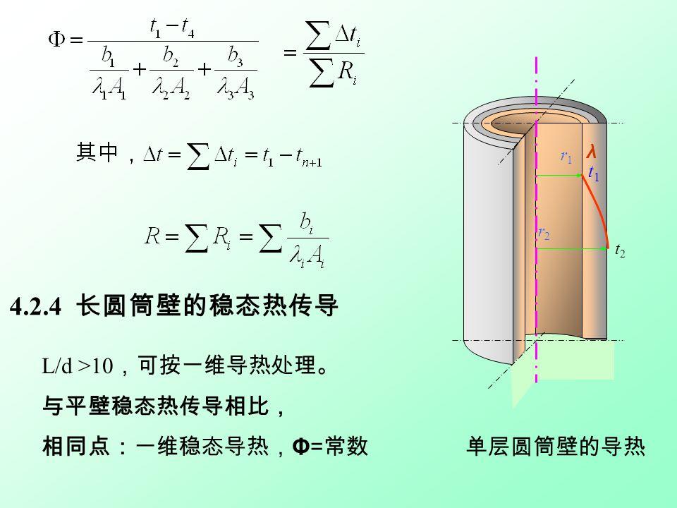 4.2.4 长圆筒壁的稳态热传导 L/d >10 ,可按一维导热处理。 与平壁稳态热传导相比, 相同点:一维稳态导热, Φ= 常数 r1r1 r2r2 t1t1 t2t2 λ 单层圆筒壁的导热