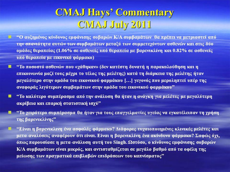 CMAJ Hays' Commentary CMAJ July 2011 Ο αυξημένος κίνδυνος εμφάνισης σοβαρών Κ/Α συμβαμάτων θα πρέπει να μετριαστεί από την σπανιότητα αυτών των συμβαμάτων μεταξύ των συμμετεχόντων ασθενών και στις δύο ομάδες θεραπείας (1.06% σε ασθενείς υπό θεραπεία με βαρενικλίνη και 0.82% σε ασθενείς υπό θεραπεία με εικονικό φάρμακο) Το ποσοστό ασθενών που «χάθηκαν» (δεν κατέστη δυνατή η παρακολούθηση και η επικοινωνία μαζί τους μέχρι το τέλος της μελέτης) κατά τη διάρκεια της μελέτης ήταν μεγαλύτερο στην ομάδα του εικονικού φαρμάκου […] γεγονός που μεροληπτεί υπέρ της αναφοράς λιγότερων συμβαμάτων στην ομάδα του εικονικού φαρμάκου Το καλύτερο συμπέρασμα από την ανάλυση θα ήταν η ανάγκη για μελέτες με μεγαλύτερη ακρίβεια και επαρκή στατιστική ισχύ Το χειρότερο συμπέρασμα θα ήταν για τους επαγγελματίες υγείας να εγκατέλειπαν τη χρήση της βαρενικλίνης Είναι η βαρενικλινη ένα ασφαλές φάρμακο.