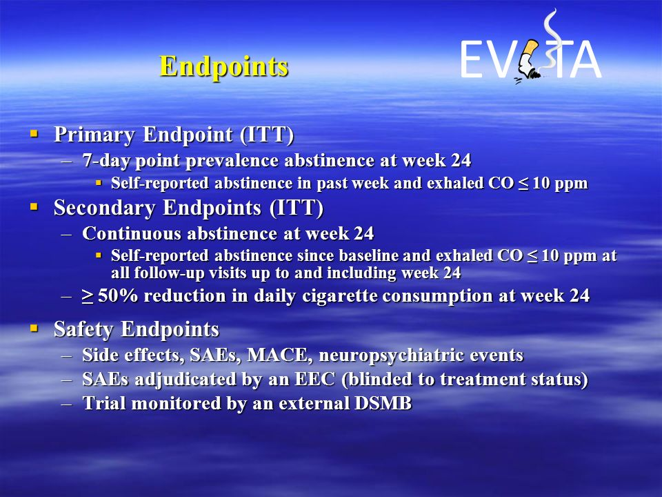 Endpoints  Primary Endpoint (ITT) –7-day point prevalence abstinence at week 24  Self-reported abstinence in past week and exhaled CO ≤ 10 ppm  Sec