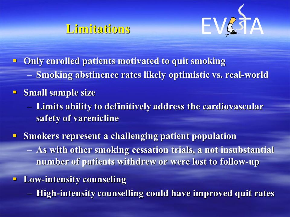 Limitations  Only enrolled patients motivated to quit smoking –Smoking abstinence rates likely optimistic vs. real-world  Small sample size –Limits