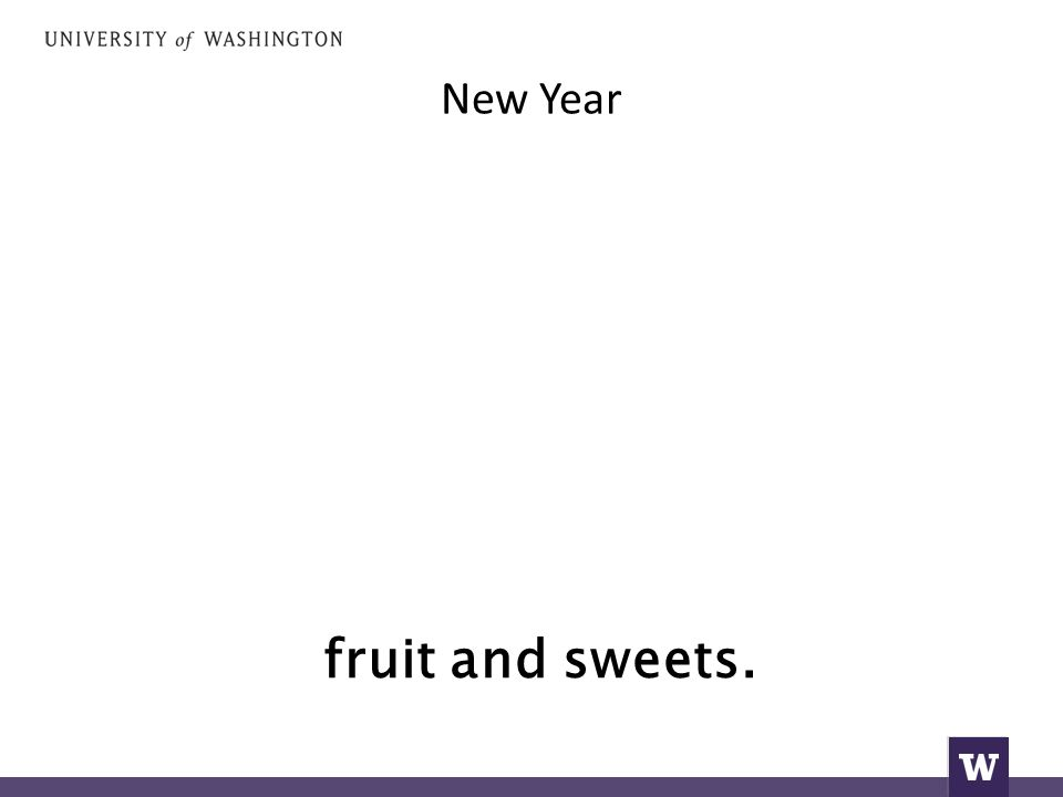 New Year fruit and sweets.