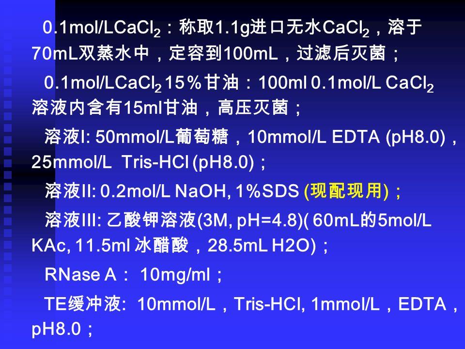 0.1mol/LCaCl 2 :称取 1.1g 进口无水 CaCl 2 ,溶于 70mL 双蒸水中,定容到 100mL ,过滤后灭菌; 0.1mol/LCaCl 2 15 %甘油: 100ml 0.1mol/L CaCl 2 溶液内含有 15ml 甘油,高压灭菌; 溶液 I: 50mmol/L 葡萄糖, 10mmol/L EDTA (pH8.0) , 25mmol/L Tris-HCl (pH8.0) ; 溶液 II: 0.2mol/L NaOH, 1%SDS ( 现配现用 ) ; 溶液 III: 乙酸钾溶液 (3M, pH=4.8)( 60mL 的 5mol/L KAc, 11.5ml 冰醋酸, 28.5mL H2O) ; RNase A : 10mg/ml ; TE 缓冲液 : 10mmol/L , Tris-HCl, 1mmol/L , EDTA , pH8.0 ;