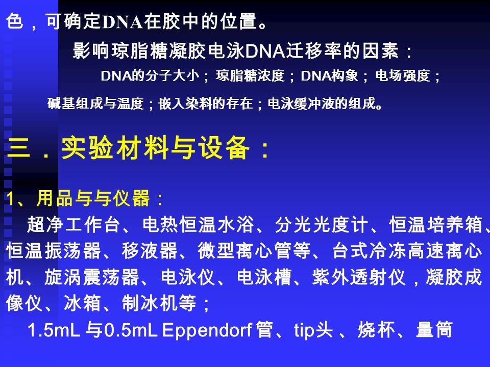 色,可确定 DNA 在胶中的位置。 影响琼脂糖凝胶电泳 DNA 迁移率的因素: DNA 的分子大小; 琼脂糖浓度; DNA 构象; 电场强度; 碱基组成与温度;嵌入染料的存在;电泳缓冲液的组成。 三.实验材料与设备: 1 、用品与与仪器: 超净工作台、电热恒温水浴、分光光度计、恒温培养箱、 恒温振荡器、移液器、微型离心管等、台式冷冻高速离心 机、旋涡震荡器、电泳仪、电泳槽、紫外透射仪,凝胶成 像仪、冰箱、制冰机等; 1.5mL 与 0.5mL Eppendorf 管、 tip 头 、烧杯、量筒