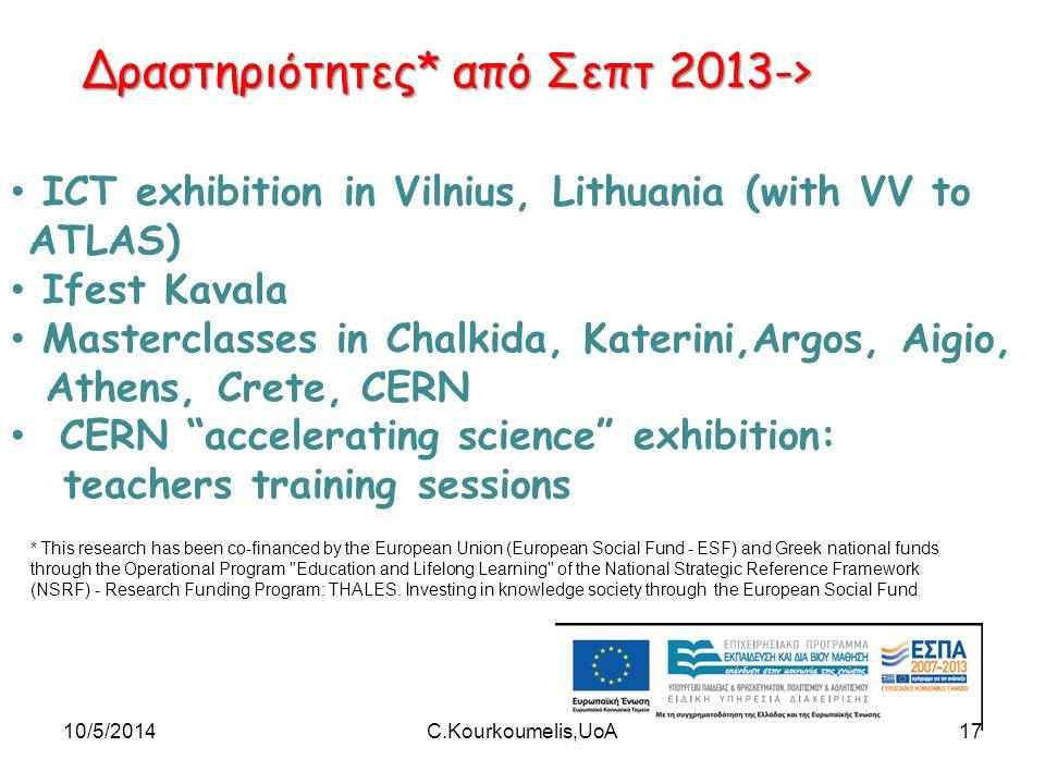 Δραστηριότητες* από Σεπτ 2013-> ICT exhibition in Vilnius, Lithuania (with VV to ATLAS) Ifest Kavala Masterclasses in Chalkida, Katerini,Argos, Aigio,