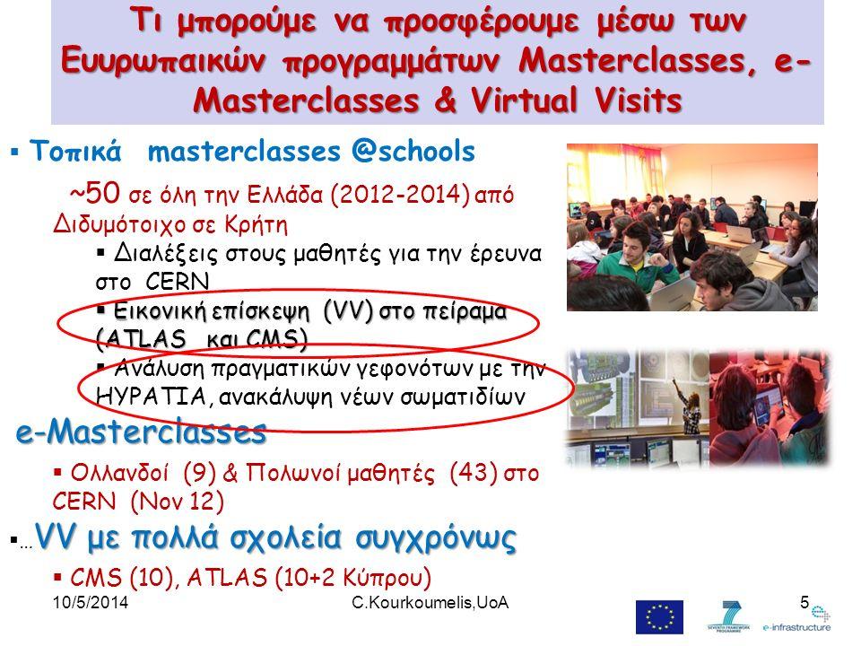 Τι μπορούμε να προσφέρουμε μέσω των Ευυρωπαικών προγραμμάτων Masterclasses, e- Masterclasses & Virtual Visits  Τοπικά masterclasses @schools ~50 σε όλη την Ελλάδα (2012-2014) από Διδυμότοιχο σε Κρήτη  Διαλέξεις στους μαθητές για την έρευνα στο CERN  Εικονική επίσκεψη (VV) στο πείραμα (ATLAS και CMS)  Ανάλυση πραγματικών γεφονότων με την HYPATIA, ανακάλυψη νέων σωματιδίων e-Masterclasses  Ολλανδοί (9) & Πολωνοί μαθητές (43) στο CERN (Nov 12) VV με πολλά σχολεία συγχρόνως  … VV με πολλά σχολεία συγχρόνως  CMS (10), ATLAS (10+2 Κύπρου) 10/5/20145C.Kourkoumelis,UoA