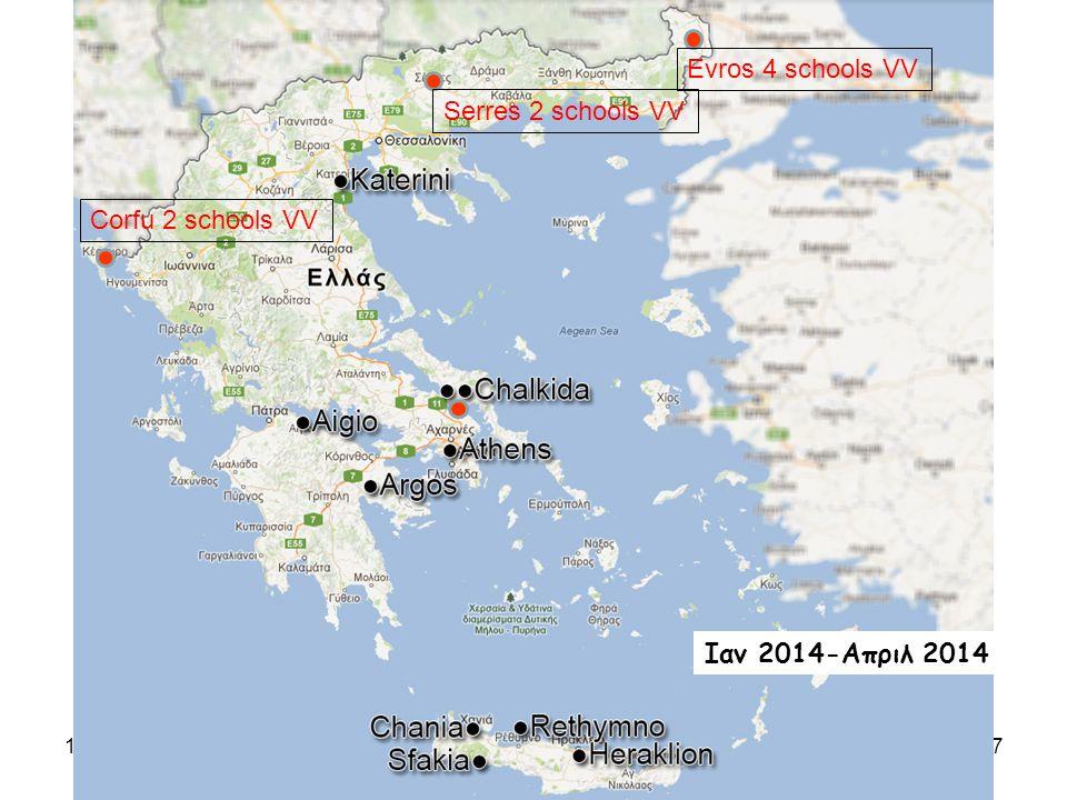 10/5/2014C.Kourkoumelis,UoA7 Evros 4 schools VV Corfu 2 schools VV Serres 2 schools VV Ιαν 2014-Απριλ 2014