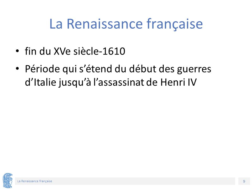 30 La Renaissance française Σημείωμα Χρήσης Έργων Τρίτων Η δομή και οργάνωση της παρουσίασης, καθώς και το υπόλοιπο περιεχόμενο, αποτελούν πνευματική ιδιοκτησία της συγγραφέως και του Πανεπιστημίου Αθηνών και διατίθενται με άδεια Creative Commons Αναφορά Μη Εμπορική Χρήση Παρόμοια Διανομή Έκδοση 4.0 ή μεταγενέστερη.