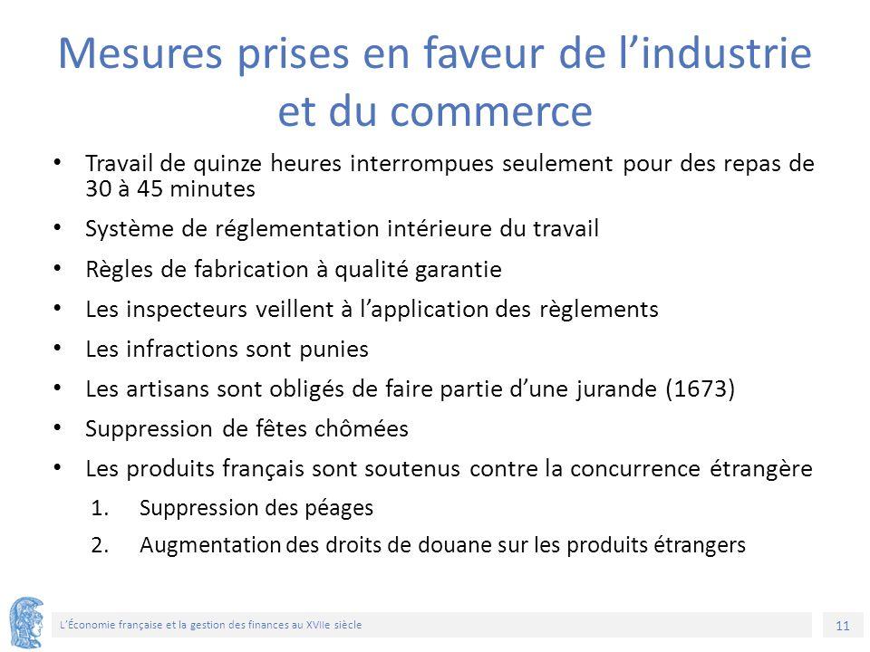 11 L'Économie française et la gestion des finances au XVIIe siècle Mesures prises en faveur de l'industrie et du commerce Travail de quinze heures int