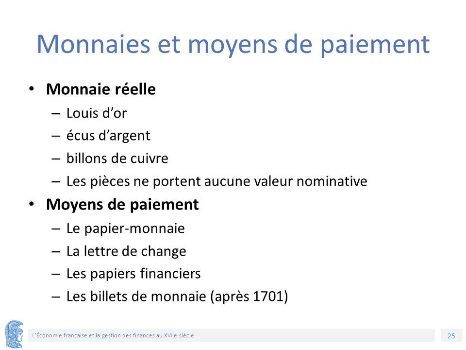 25 L'Économie française et la gestion des finances au XVIIe siècle Monnaies et moyens de paiement Monnaie réelle – Louis d'or – écus d'argent – billon
