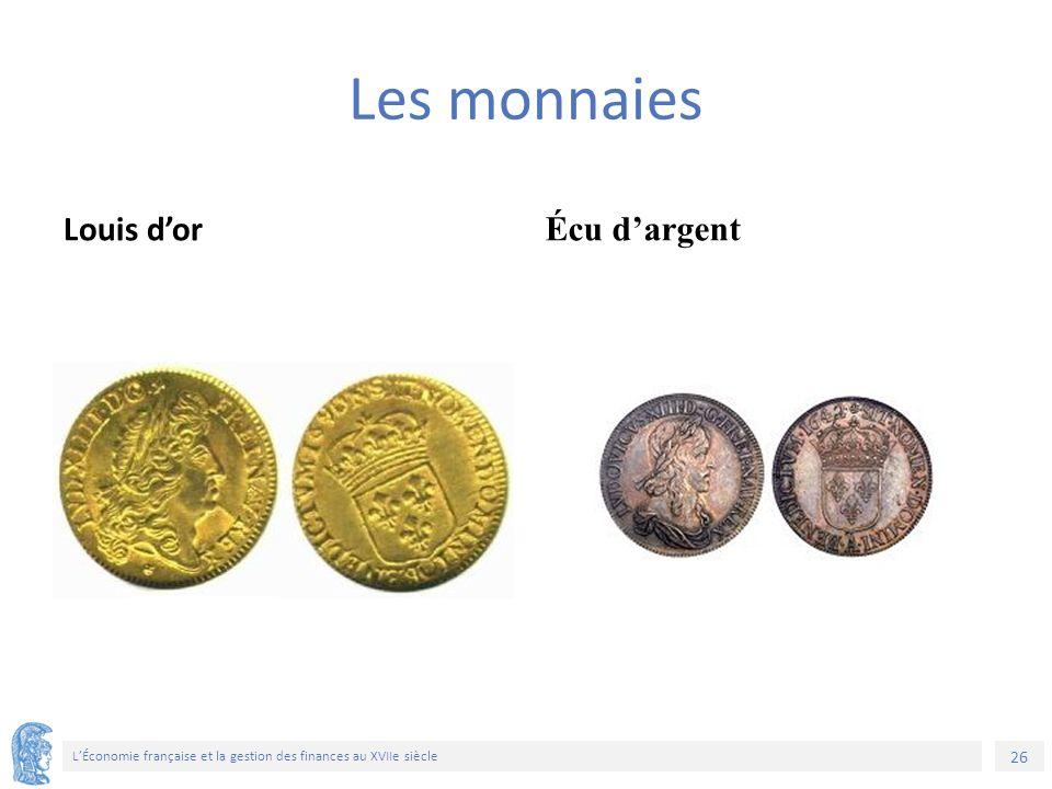 26 L'Économie française et la gestion des finances au XVIIe siècle Les monnaies Louis d'or Écu d'argent