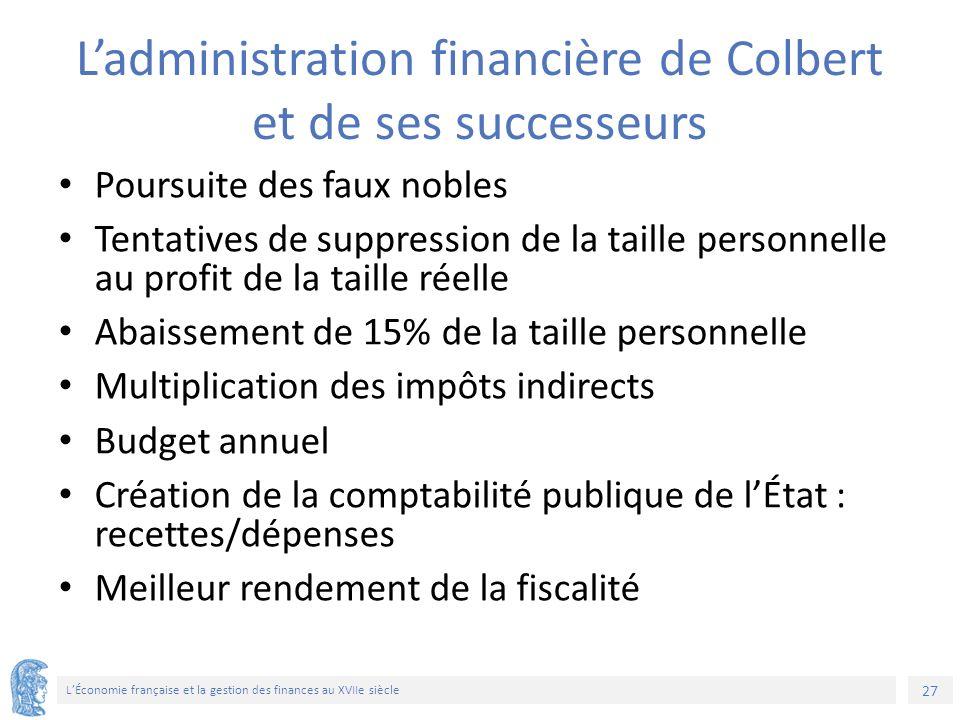 27 L'Économie française et la gestion des finances au XVIIe siècle L'administration financière de Colbert et de ses successeurs Poursuite des faux nob